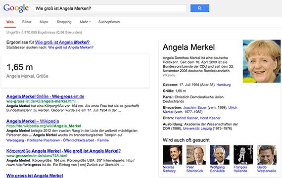 Google Conversational Search: Wie groß ist Angela Merkel?