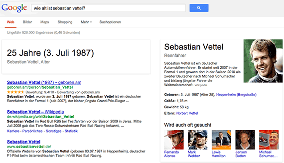 Google Conversational Search: Wie alt ist Sebastian Vettel?