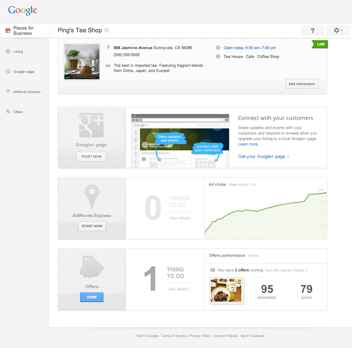 Neues Google Places Dashboard