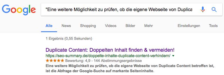 Duplicate Content Analyse mit Google