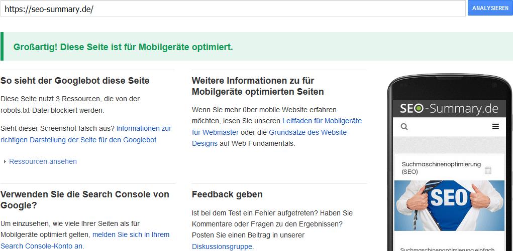 Google Mobile-Friendly Check Screenshot