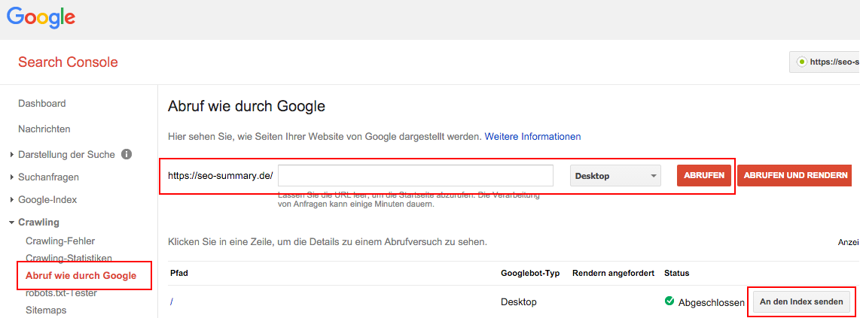 Google Search Console: Abruf wie durch Google