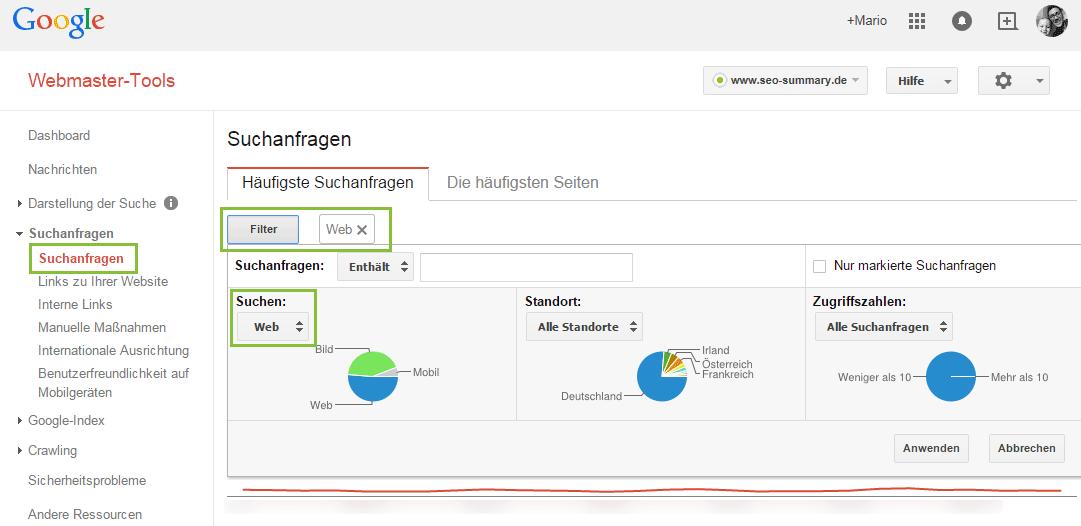 Google Webmaster Tools - Suchanfragen