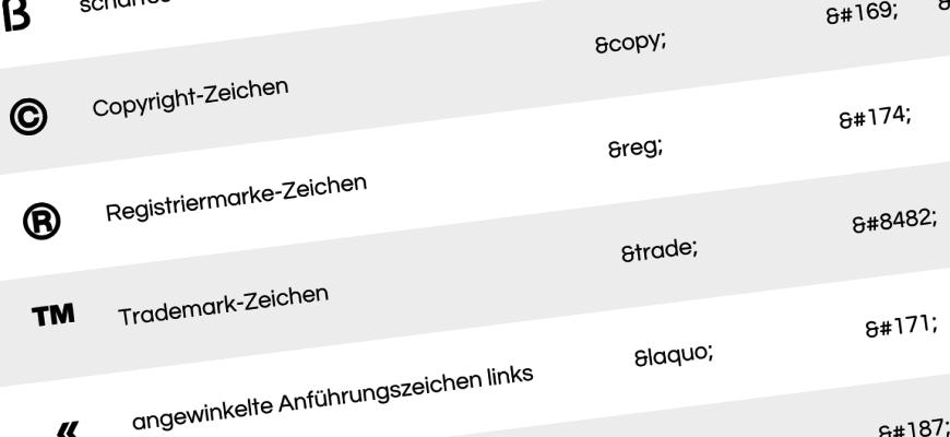 HTML Sonderzeichen / Unicode