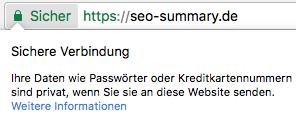 Website HTTPS Kenzeichnung in Chrome