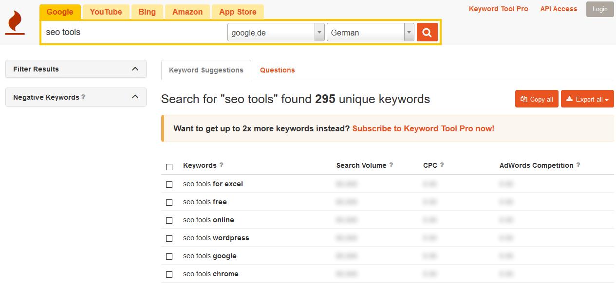 Keyword Analyse & Recherche mit Keywordtool.io