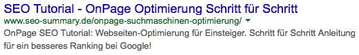 OnPage SEO Optimierung - SERP Preview