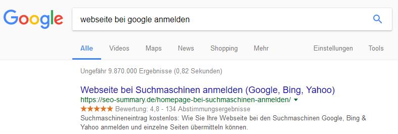 Webseite bei Google anmelden