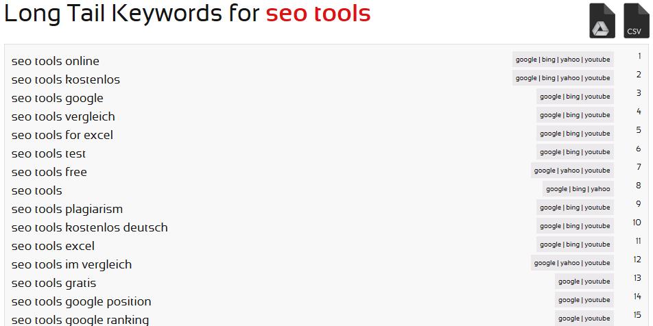 SEORCH Long Tail Keyword Recherche