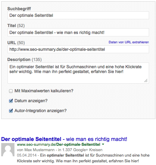 SERP Snippet Preview - Seitentitel testen